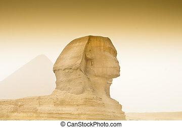 cheops の ピラミッド, そして, スフィンクス, 中に, エジプト, 中に, 砂あらし