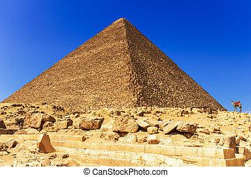 cheops, ギザ, 大きい ピラミッド, エジプト