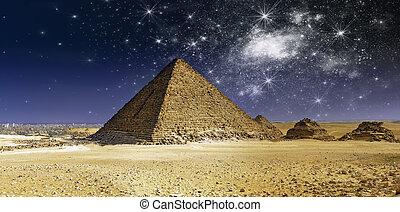 cheops, encima, pirámide, noche