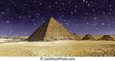 cheops, gran pirámide, encima, cielo, estrellas