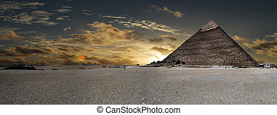 Cheops pyramid at sunset, Cairo, Egypt