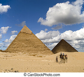 Cheops Visitors - Tourists on the way to Cheops Pyramid in...
