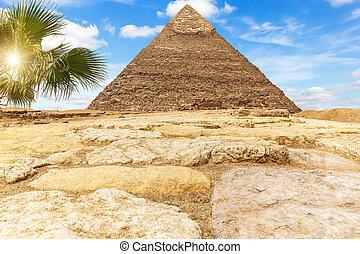 chephren ピラミッド, ギザ, 日当たりが良い, khafre, エジプト, 砂漠