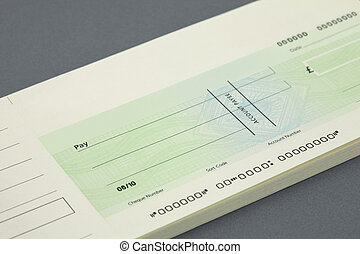 Cheque book with a blank cheque