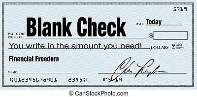 cheque branco, -, liberdade financeira, de, riqueza