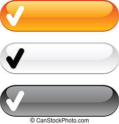 cheque, button.