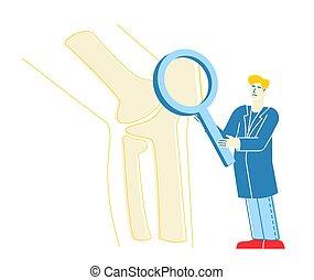 cheque, carácter, mirar completamente, orthopedist, aumentar, vector, huesos de la pierna, especialista, coyuntura, rodilla, lineal, ilustración, hospital., concept., ortopedia, médico, inmenso, doctor, vidrio., atención sanitaria, arriba