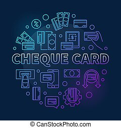 Cheque Card vector round colorful outline illustration