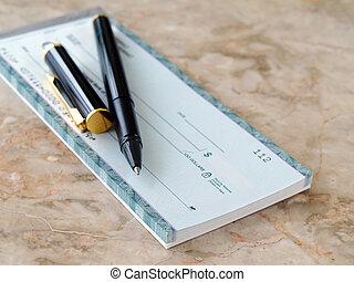 cheque, com, caneta