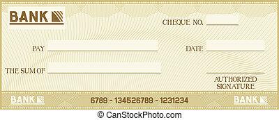 cheque, con, espacio, para, su, poseer, texto