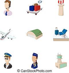 cheque, en, aeropuerto, iconos, conjunto, caricatura, estilo