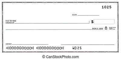 cheque en blanco, con, falso, números