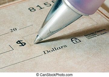 cheque, escrita