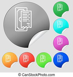 cheque icon sign. Set of eight multi colored round buttons, stickers. Vector