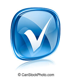 cheque, icono, vidrio azul, aislado, blanco, fondo.