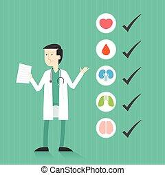 cheque, médico, lista, arriba, doctor