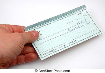 cheque, mano