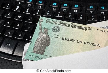 cheque, pago, estímulo, federal, ilustración, teclado, irs