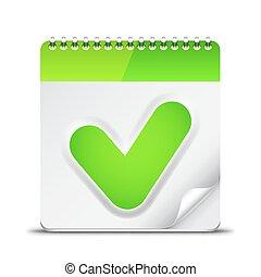 cheque, símbolo, ícone, calendário, marca