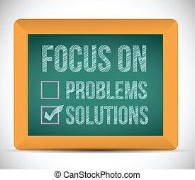 cheque, soluções, foco, ilustração, marca