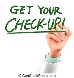 chequeo, doctor, conseguir, escritura, palabras, su