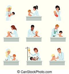 chequeo, poco, niños, hembra, conjunto, médico, vector,...