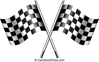 chequered, checkered, 旗