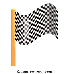 Chequered flag icon, cartoon style
