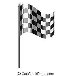 Chequered flag icon, isometric 3d style