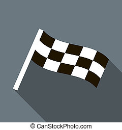 Chequered flag motor icon in flat style