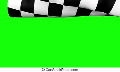 Chequered Flag on Green - Computer generated animation of a...