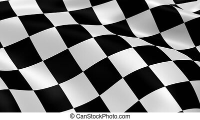 Chequered flag waving in the wind. Part of a series. 4K...