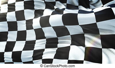 Chequered flag waving on sun. Seamless loop with highly...