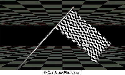 Chequered flag waving with black and grey checkerboard moving top and bottom. vintage start, order and movement concept digitally generated image.