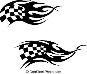 Chequered flag with flames - Chequered flag with black...