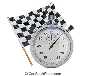 Chequered flag with stopwatch, 3D rendering