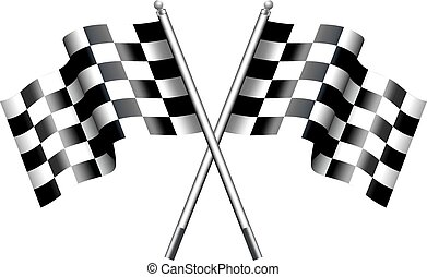 Two black and white crossed Racing Checked Flags