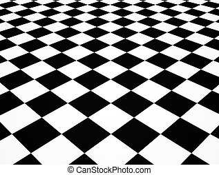 Chequered floor - Illustration of a black and white...