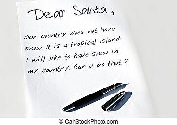 cher santa, lettre