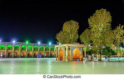 cheragh, irán, mecset, -, shiraz, bíróság, shah