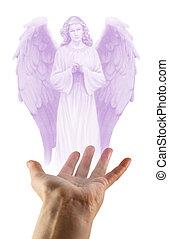 chercher, les, aide, de, une, ange