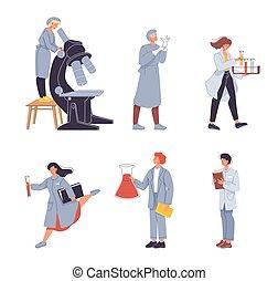 chercheur, gens, laboratoire, scientifique, aide, ensemble