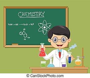 chercheur, laboratoire, isolé, -