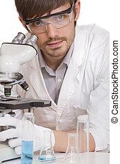 chercheur, microscope