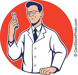 chercheur, scientifique, laboratoire, chimiste, dessin animé