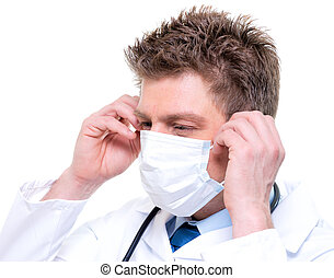 Cherfull doctor wearing surgical mask and stethoscope