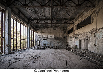 Chernobyl - Abandoned basketball court - Abandoned...
