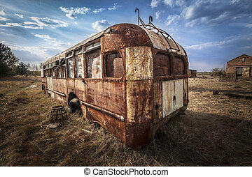 Chernobyl - Abandoned bus in a field - Abandoned and rusty...