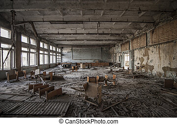 Chernobyl - Abandoned classroom in Pripyat - Symmetrical...