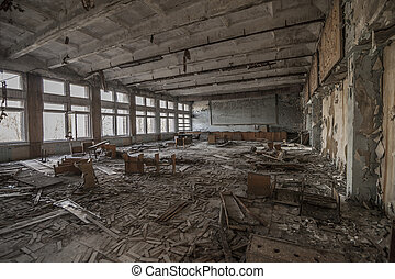 Chernobyl - Abandoned classroom in Pripyat - Wide-angle view...